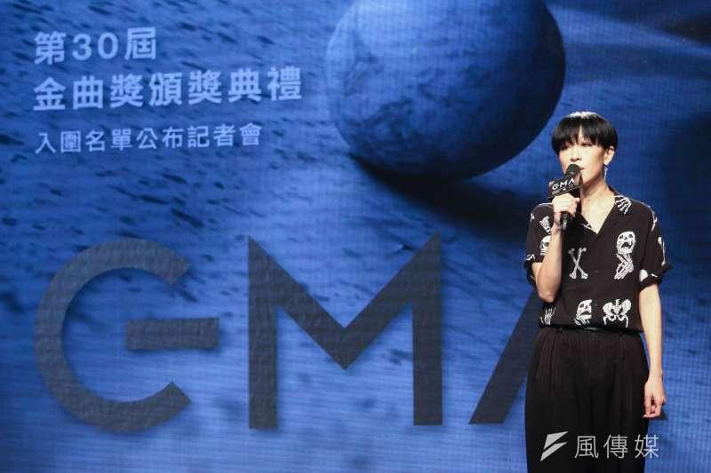 第30屆金曲獎入圍名單公布,評審代表陳珊妮公布入圍名單。(蔡親傑攝)