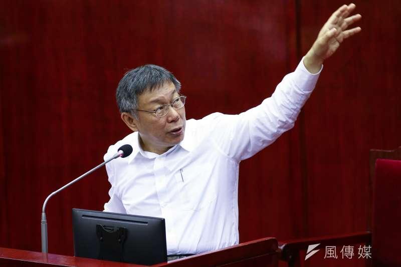 高雄市長韓國瑜認為台北市長柯文哲一定會選總統,圖為柯文哲議會備詢日。(蔡親傑攝)