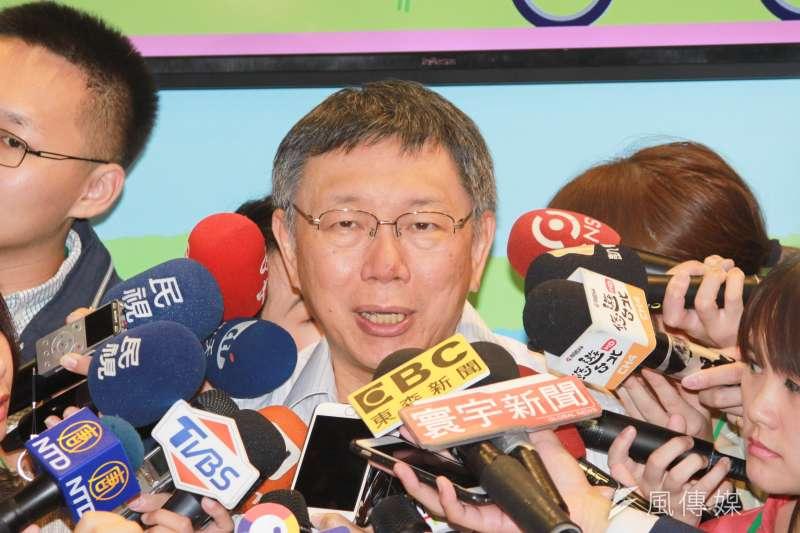 台北市長柯文哲上午出席台北國際觀光博覽會開幕活動。(方炳超攝)