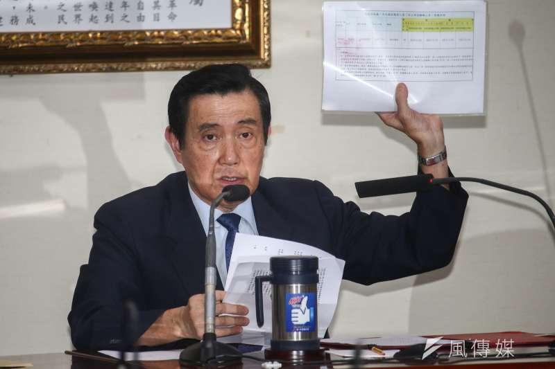 前總統馬英九(圖中)與前副總統吳敦義對管制期延長一事召開記者會。(蔡親傑攝)
