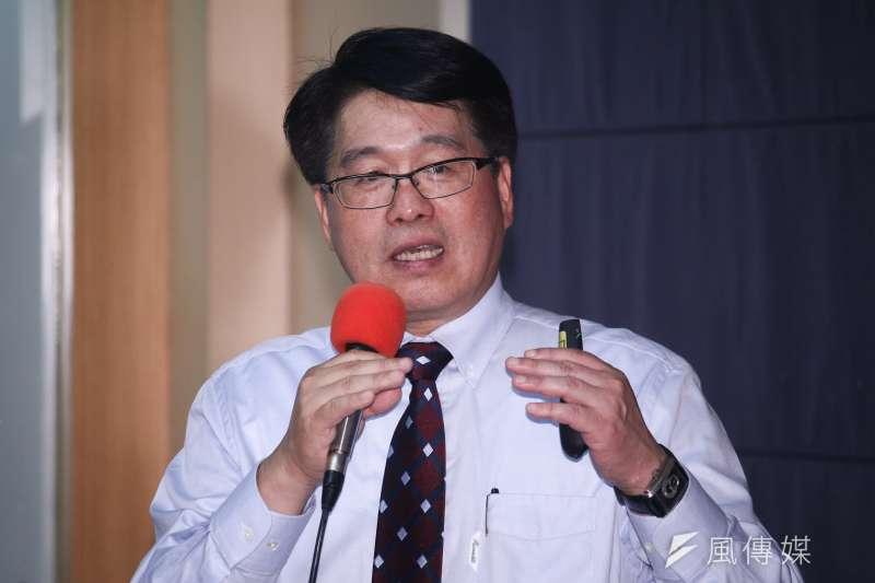 20190519-游盈隆教授19日出席台灣民意基金會主辦「民進黨重返執政三周年」民調記者會。(蔡親傑攝)