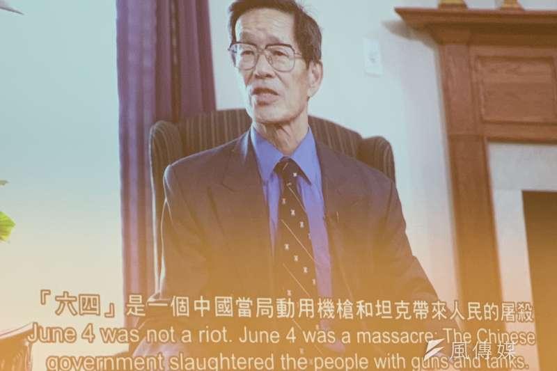 中國國務院政治改革辦公室前成員嚴家祺19日錄影在六四30週年研討會發言。(簡恒宇攝)