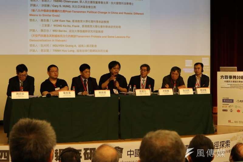 台灣學者、華人民主書院董事會主席曾建元18日出席「六四30周年研討會」指出,中國六四天安門事件也對台灣民主化造成深遠影響。(蔡娪嫣攝)