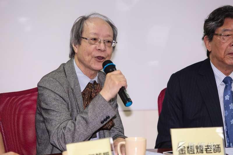 20190520-凱達格蘭學校校長金恆煒20日出席「民進黨初選觀察團」成立記者會。(顏麟宇攝)