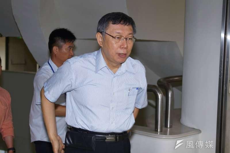 台北市長柯文哲20日上午赴台北市議會,針對大巨蛋議題進行專案報告。(盧逸峰攝)