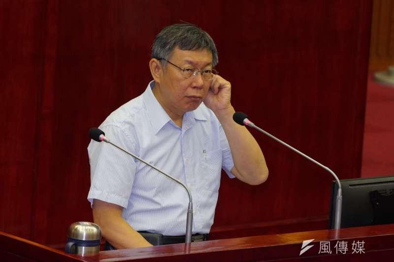 20190520-台北市長柯文哲赴市議會專案報告。(盧逸峰攝)