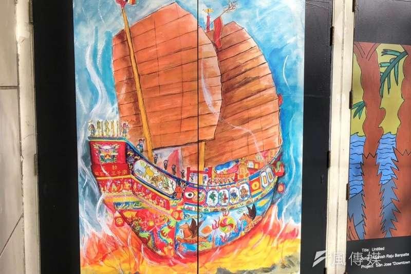 台南市建興國中三年級學生楊守茗畫作「送王」(The Burning of the King Boat)獲聖市主辦單位選為代表台南市作品。(圖/徐炳文攝)