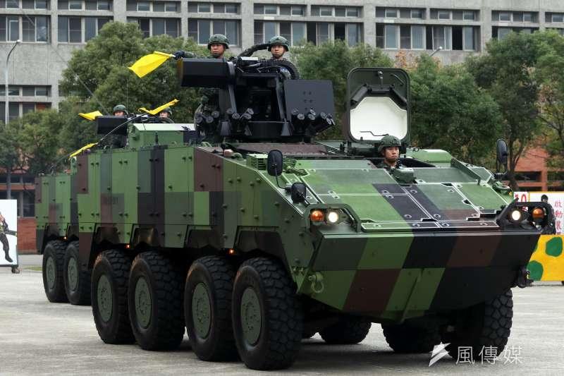 20190523-對總統在內等層峰執行疏算的「萬鈞計畫」,是以停放在博愛特區內的憲兵裝甲車為載具進行撤離。圖為憲兵雲豹8輪甲車。(蘇仲泓攝)