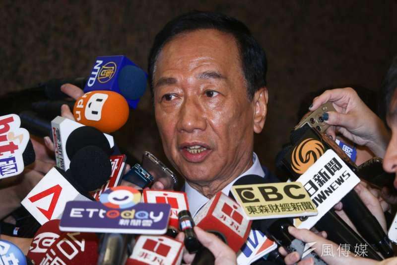鴻海董事長郭台銘談軍公教年改,認為「政府應該把餅做大,再回來分配。」(資料照,蔡親傑攝)