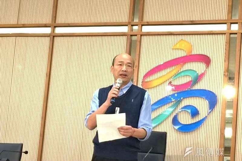高雄市長韓國瑜最近拋出「總統選上就在高雄上班」議題,令南部人相當雀躍,認為可以平衡南北,帶動高雄經濟。(圖/徐炳文攝)