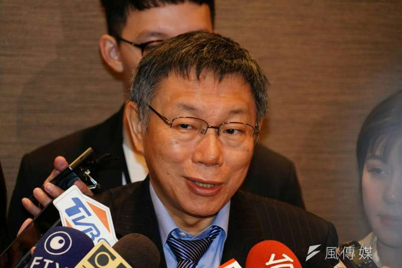 台北市長柯文哲訪問日本,並回應媒體有關韓國瑜將大造勢的問題。(資料照片,台北市政府提供)