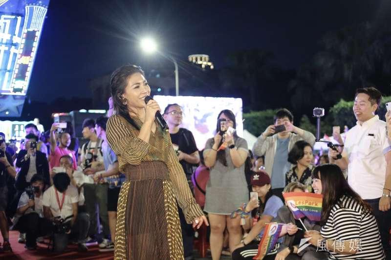 20190525-「2019 凱道同婚宴:十年修得同婚宴,不忘初心爭平權」 活動,歌手艾怡良到場支持。(陳品佑攝)