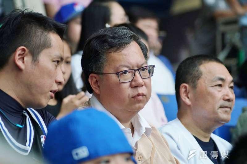 20190526-桃園市長鄭文燦觀賞富邦悍將棒球賽。(盧逸峰攝)