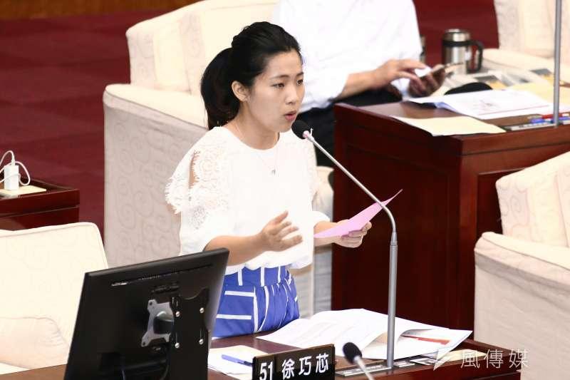 前總統馬英九8日為國民黨總統參選人韓國瑜站台時被噓下台,台北市議員徐巧芯(見圖)在臉書為馬抱不平,卻遭惡意攻擊,還被公開私人LINE帳號。(資料照,蔡親傑攝)