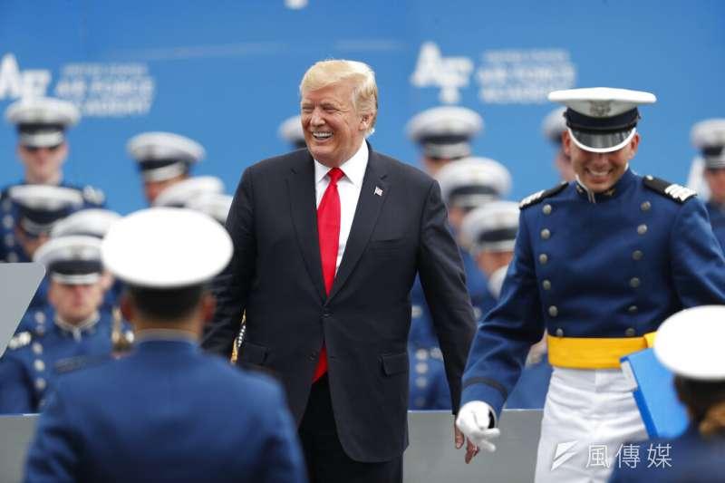 2019年5月30日美國總統川普參加美國空軍畢業典禮 。(AP)
