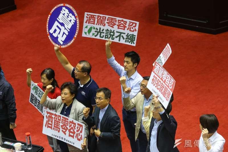 20190531-國民黨31日針對刑法修正案,高喊「酒駕零容忍,民進黨光說不練」。(顏麟宇攝)