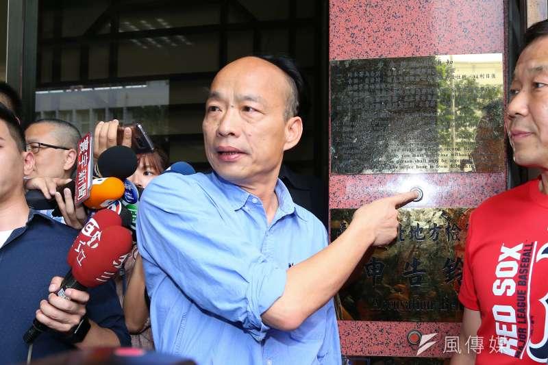 高雄市長韓國瑜31日至北檢對吳子嘉提告。(顏麟宇攝)