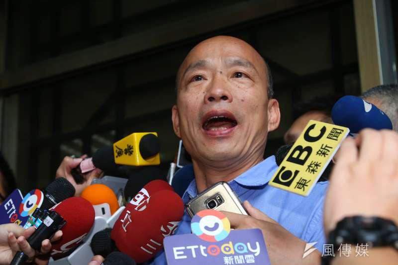 高雄市長韓國瑜(見圖)說,和郭台銘見面兩次,印象中未談到進中聯辦的事。(資料照,顏麟宇攝)