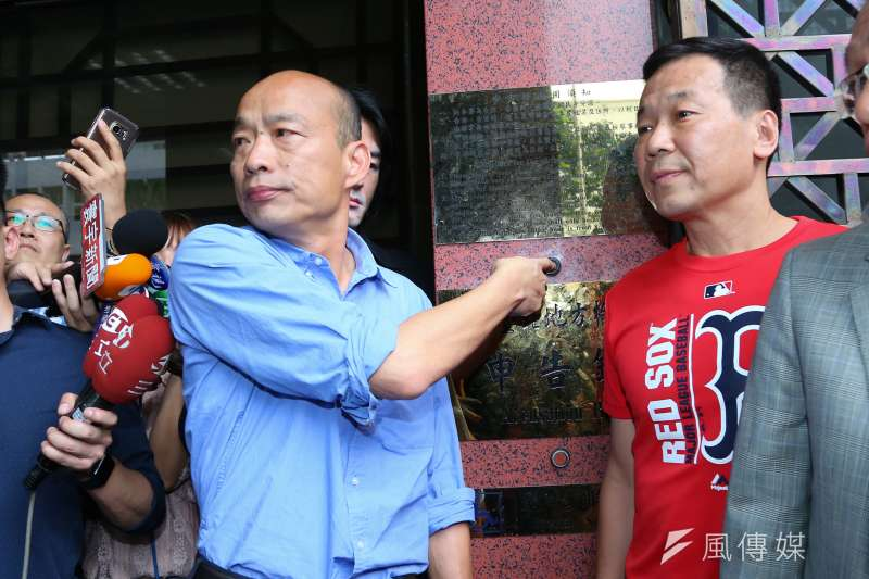 高雄市長韓國瑜到北檢對吳子嘉提告。(顏麟宇攝)