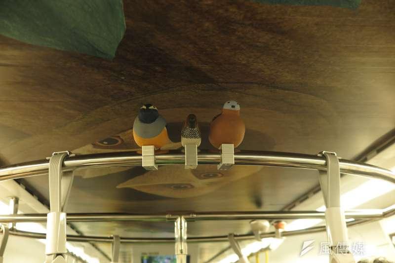 20190603_里山動物列車2.0,神秘車廂的把手上,有小鳥模型裝飾。(廖羿雯攝)