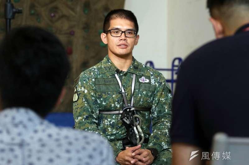 20190603_在特11連擔任副排長的楊政達士官長,去年剛完訓同時,立即投入波津加山難救援行動。(蘇仲泓攝)