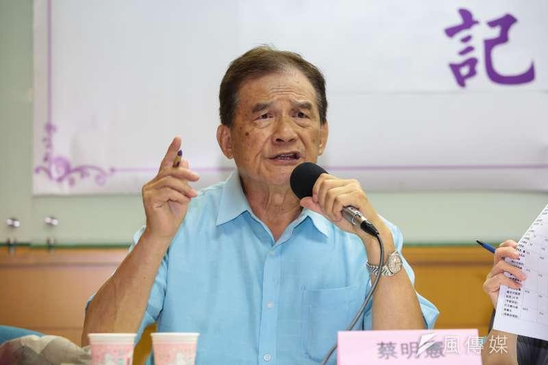20190604-前國防部長蔡明憲4日出席「公投修法:頭痛,鋸腿」記者會。(顏麟宇攝)
