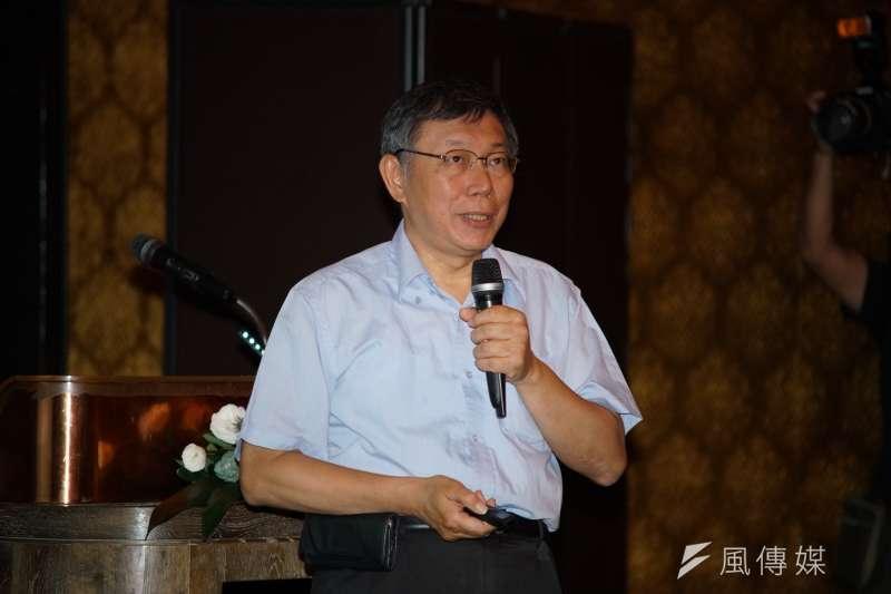 台北市長柯文哲說,大巨蛋容留人數先用6萬人上線,再修改,一開始營運不要太多人。(盧逸峰攝)