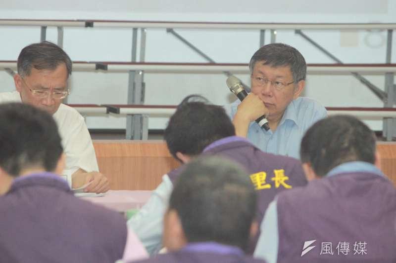 台北市長柯文哲今(5)日上午出席大安區里長座談會,談及年金改革議題。(方炳超攝)