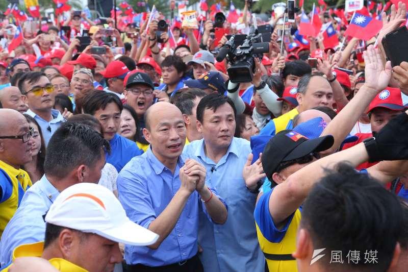 高雄市長韓國瑜8日出席花蓮「決戰2020,贏回台灣」造勢活動。(顏麟宇攝)