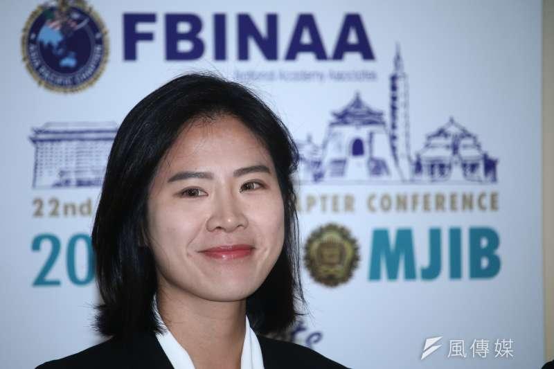 參加美國聯邦調查局國家學院(FBINA)受訓的台灣調查官蔡佩汶。(蔡親傑攝)
