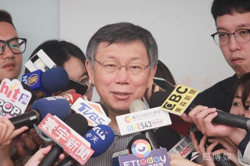 台北市長柯文哲10日接受媒體訪問,(方炳超攝)