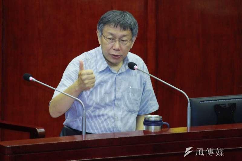 對於台北市長柯文哲(中)的「兩岸一家親」主張,中國國台辦表示讚賞。(資料照,方炳超攝)
