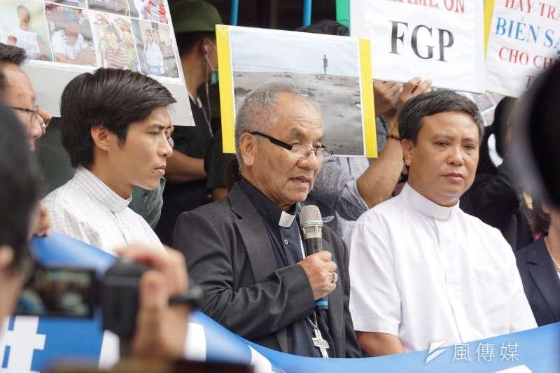 20190611-環境法律人協會「無良台塑污染海洋,越南人民跨海訴訟 」記者會,越南當地黃主教發言。(盧逸峰攝)