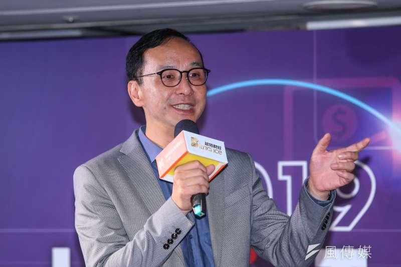 前新北市長朱立倫12日出席第三屆「Hit FinTech」金融科技產業高峰。(顏麟宇攝)
