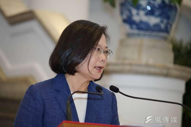 總統蔡英文今天表示,「送中條例」引發的衝突,再次凸顯「一國兩制」在香港的挫敗;不接受一國兩制是台灣人民不分黨派最大共識。(資料照,盧逸峰攝)