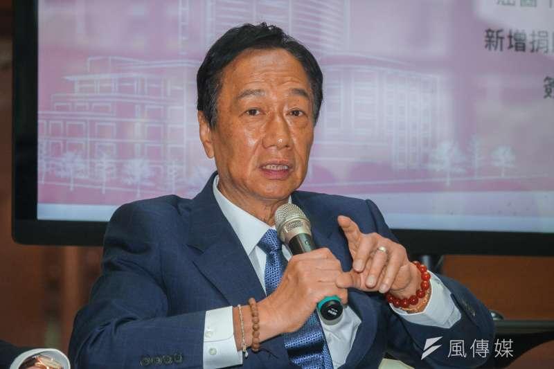 鴻海董事長郭台銘提出連續45年天天工作16小時,就能超越他的成就。(蔡親傑攝)