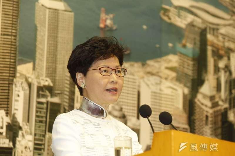 香港特首林鄭月娥在15日下午記者會宣布,逃犯條例暫緩修法。(新新聞郭晉瑋攝)