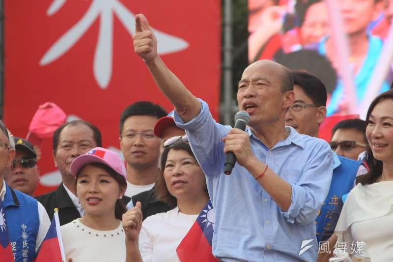 20190615-高雄市長韓國瑜15日出席雲林造勢大會,在夫人李佳芬陪同下,在台上向支持者發表演說。(新新聞,柯承惠攝)