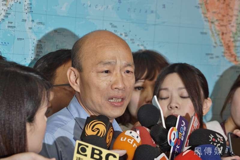 中天新聞3月底播出,高雄市長韓國瑜(見圖)搭機巧遇3尊媽祖同返台,遭NCC發函改進。(資料照,盧逸峰攝)