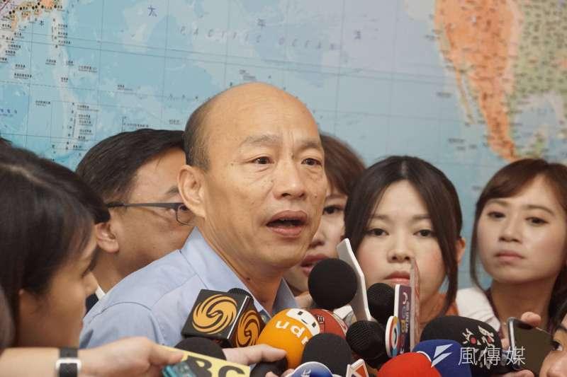 被問到凱道反紅媒遊行,高雄市長韓國瑜(前中)同意,不應該侵犯媒體監督的第四權。(資料照,盧逸峰攝)