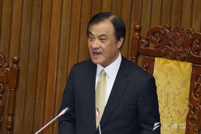 立法院長蘇嘉全說,中國對台滲透、吸收工作力道愈來愈強,行政立法要共同攜手合作。(盧逸峰攝)