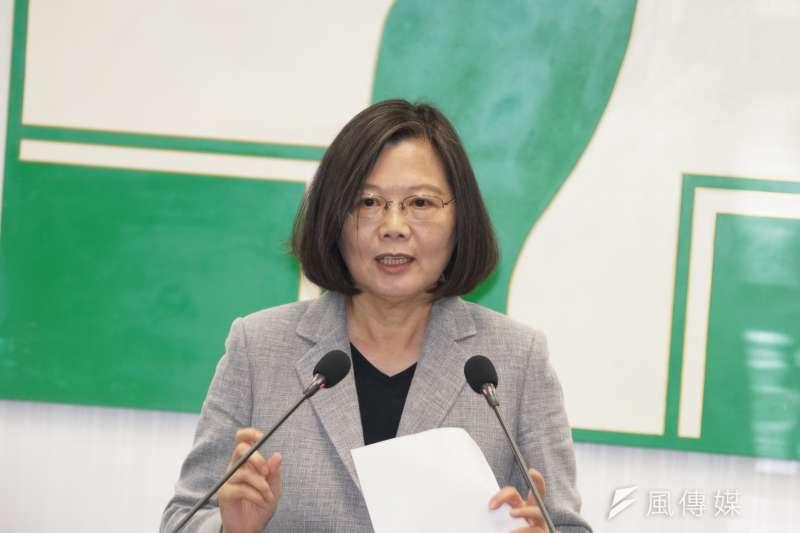 20190619-總統蔡英文於民進黨中執會前發表談話。(盧逸峰攝)