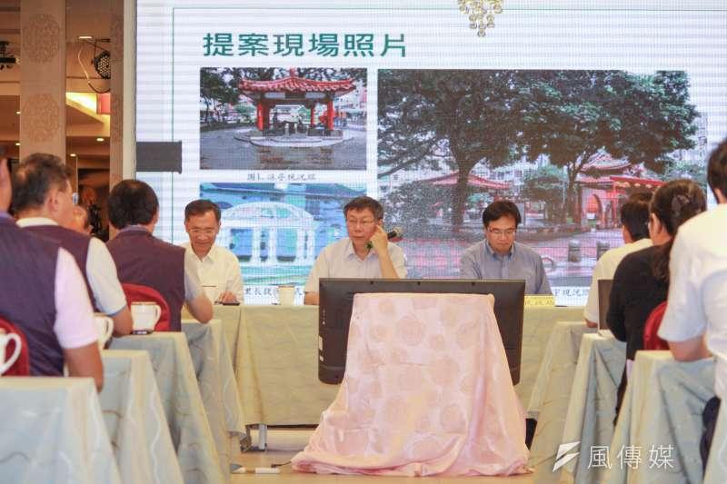 20190619-台北市長柯文哲19日上午前往中山區,參加里長座談會。(方炳超攝)