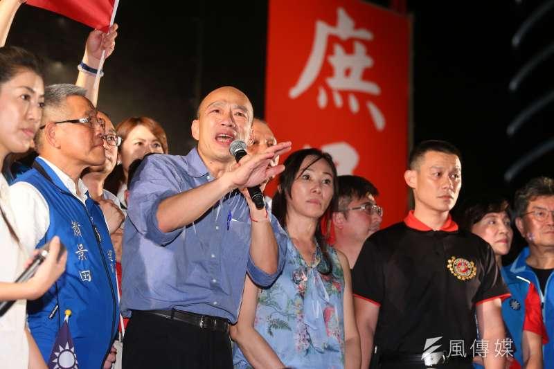 高雄市長韓國瑜(前左三)昨日出席台中挺韓造勢活動。(資料照,顏麟宇攝)