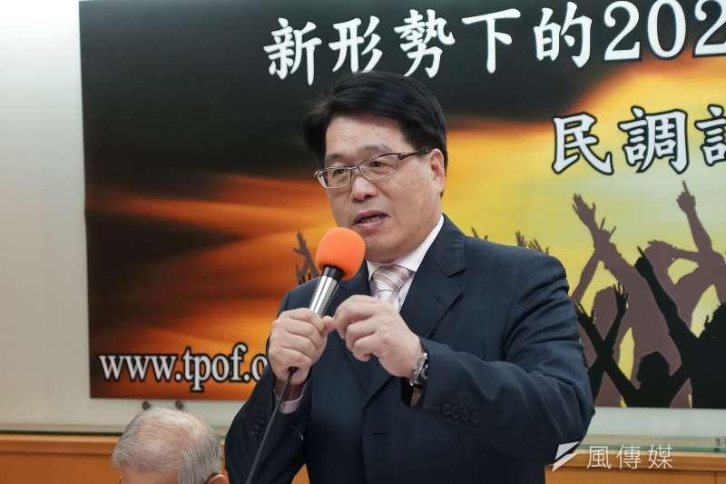 台灣民意基金會董事長游盈隆宣布退出民進黨。(盧逸峰攝)