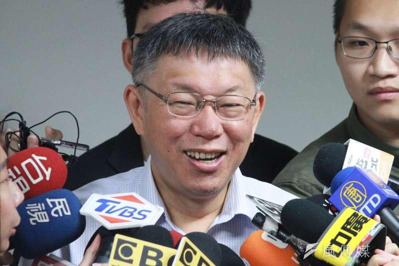 高雄市長韓國瑜接連遭學生當面「表示意見」,台北市長柯文哲(見圖)26日表示,「現在變成學生創意比賽」。(方炳超攝)