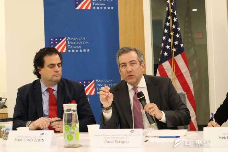 美國海外私人投資公司(OPIC)代理總裁兼執行長比海吉(右)訪問台灣。(簡恒宇攝)