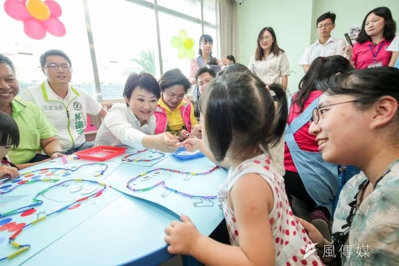 台中市長盧秀燕強化教育,致力推動四年內親子館「雙倍增」,要讓親子享受最好的設施及服務。(圖/臺中市政府提供)