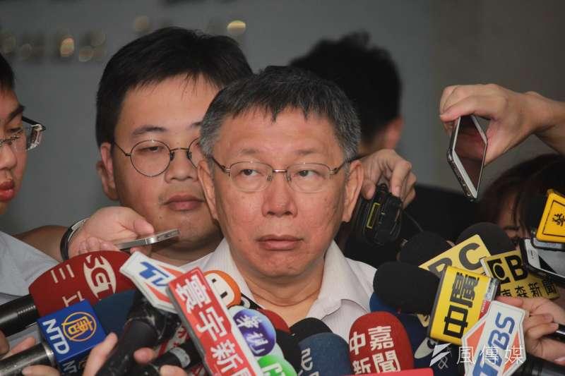 20190628-台北市市長柯文哲28日受訪時,談及日前遭到駁回的雙子星案。(方炳超攝)