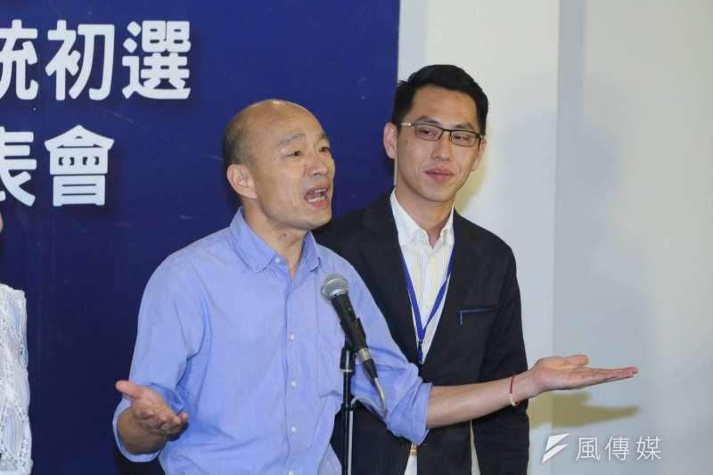 高雄市長韓國瑜在國民黨初選政見會上批評民進黨政府去中華文化像「小刀鋸大樹」,一點一滴的割。(柯承惠攝)